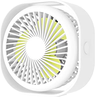 Portable Desk USB Fan,Mini Stroller Table Fan with USB Rechargeable Battery Small Size, 3 Speeds, 360° Rotating Free Adjustment Personal Fan for Home Office and Dorm-White