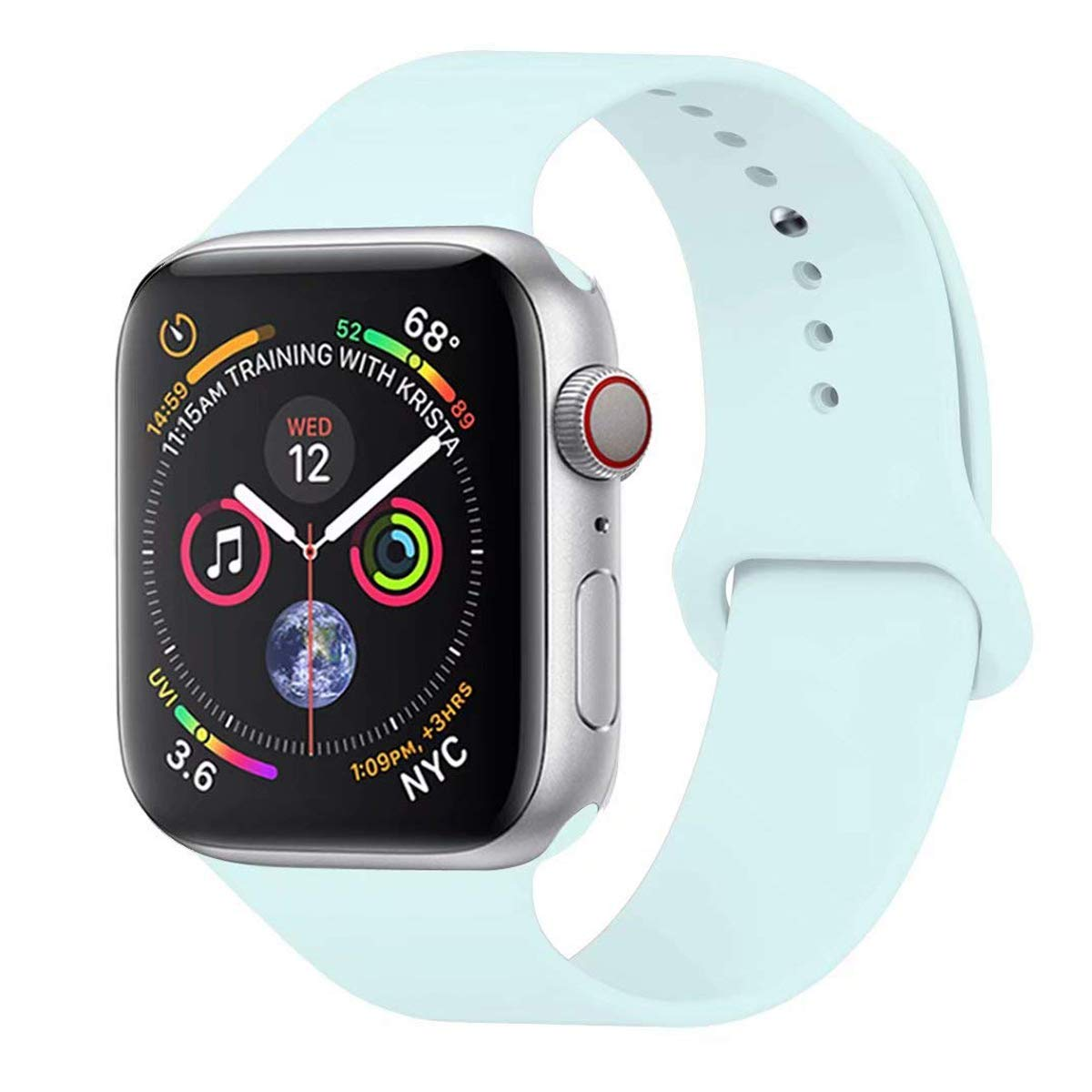 Para Correa Apple Watch 42MM , Suave Silicona iWatch Correa, Para Series 3, Series 2, Series 1, Nike+, Edition, Hermes (Turquoise, 42MM-ML): Amazon.es: Deportes y aire libre