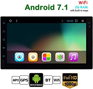 Android 7.1 Auto Car Stereo System 7 inch Double 2 Din Car Video Player work with Bluetooth GPS Navigation Car Stereo Radio Unit Full Touch Screen support Wifi Mirror link 1080P OBD2 USB SD Dual