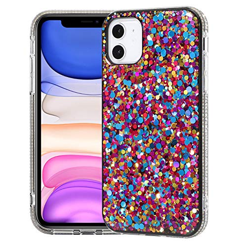 BANAILOA Sparkle Cute iPhone 11 Case Glitter,Luxury Colorful Bling Case for Women with Diamond Rhinestone Shockproof Soft Silicone Purple Girly Case Designed for iPhone 11-6.1 inch