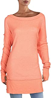 Free People North Shore Thermal Knit Tunic Top, Size X-Small - Coral