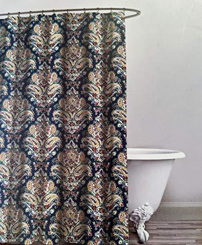 ENVOGUE Paisley Floral Medallion 100% Cotton Shower Curtain Multi Color with Dark Blue 72' x 72'