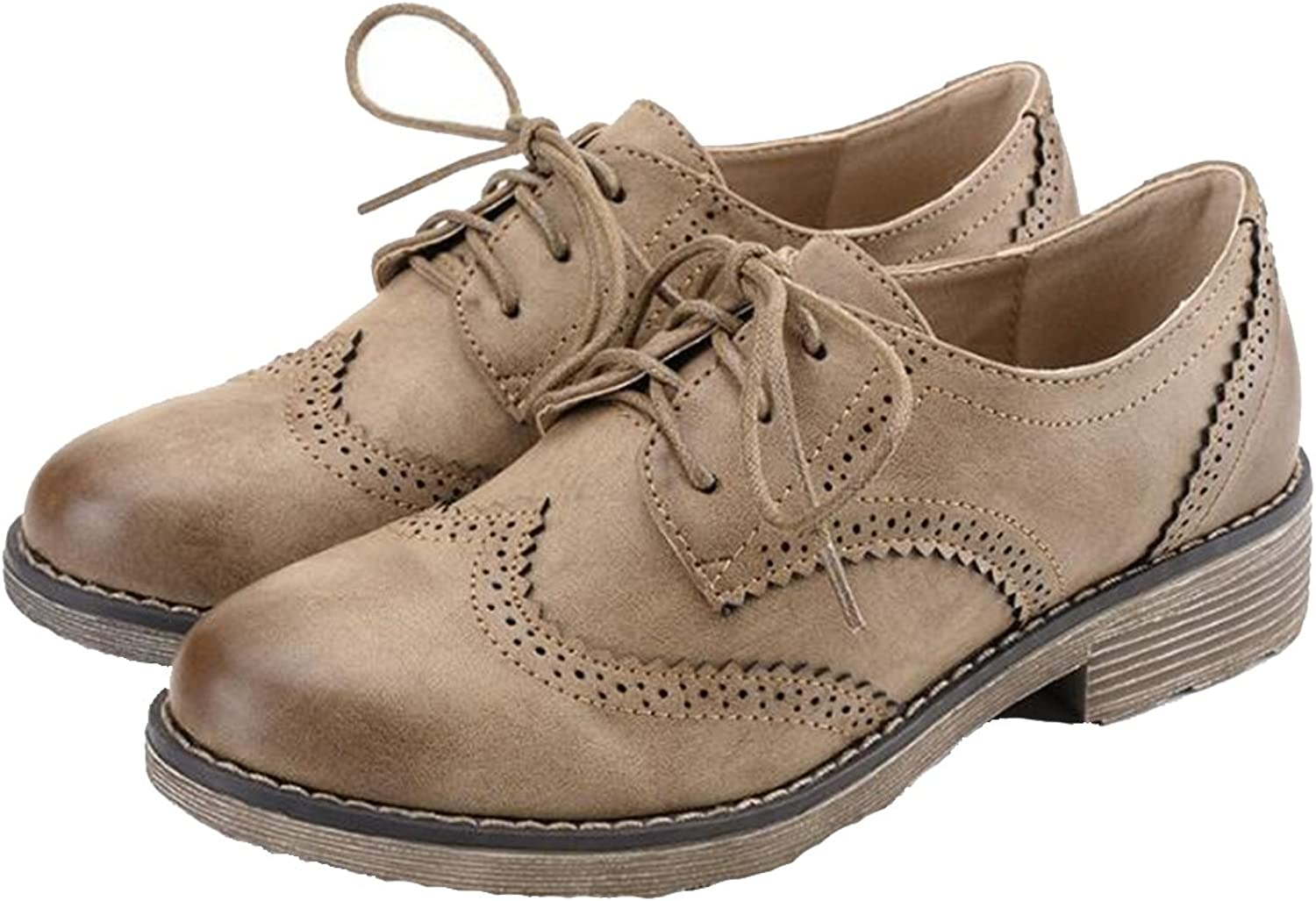 COVOYYAR Women's Vintage Lace Up Hollow Out Round Toe Oxford Solid Flat shoes Brogues