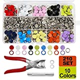 SUNTATOP 210 Conjunto de Garras de Botones, Botones de Costura de 10 Colores con Herramientas para Ropa de Bricolaje, Costura Manual, Reparación de Ropa, etc.
