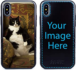 Custom Cat Cases for iPhone Xs Max by Guard Dog - Personalized - Put Your Kitty on a Rugged Hybrid Phone Case. Includes Guard Glass Screen Protector. (Black, Black)