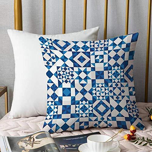 Kissenbezüge Kissenbezug Polyester,Navy Blue Decor, abstrakte geometrische Potugal Style Keramik Textur und unge,Zierkissenbezug ohne Füllung Für Autos Wohnzimmer Schlafzimmer Dekor,18x18inch,45x45cm