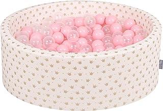 KiddyMoon 90X30cm/200 Bolas ∅ 7Cm Piscina De Bolas para Ninos Hecha En La UE, Ecru-Dorado:Rosa Clr/Transparente