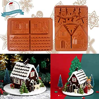 Christmas Gingerbread Silicon 3D House Chocolate Molds Kit, Cookie Candy Make Molds Includes 2 Molds to Create Gingerbread House Tree Bird Cat Santa Claus DIY Decorating Tools (Brown)
