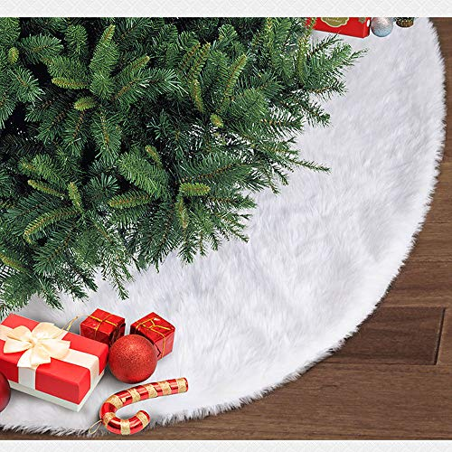 Athyior Weihnachtsbaum Rock Dekoration Christbaumdecke Runde Weißer Plüsch für Xmas Weihnachtsbaum Ornament Weihnachtsdekoration 35.4in