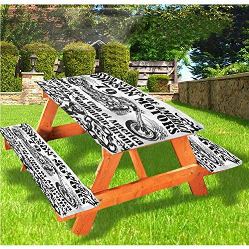 LEWIS FRANKLIN Shower curtain Manly Picnic Table & Benches Cover, Old Racer Motorcycle Elastic Edge Fitted Tablecloth,28 x 72 Inch, 3-Piece Set for Travel Christmas Picnics Parties Outdoor