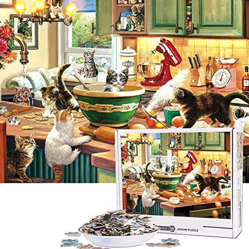 Cuteefun Puzzle per Adulti 1000 Pezzi Puzzle Animali Divertenti Puzzle Cucina del Gattino Puzzle per Bambini Decompressione e Regalo