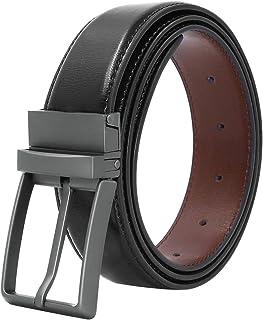 أحزمة للرجال من الجلد الطبيعي حزام اللباس ذو وجهين مع إبزيم دوار بعرض 3.3 سم