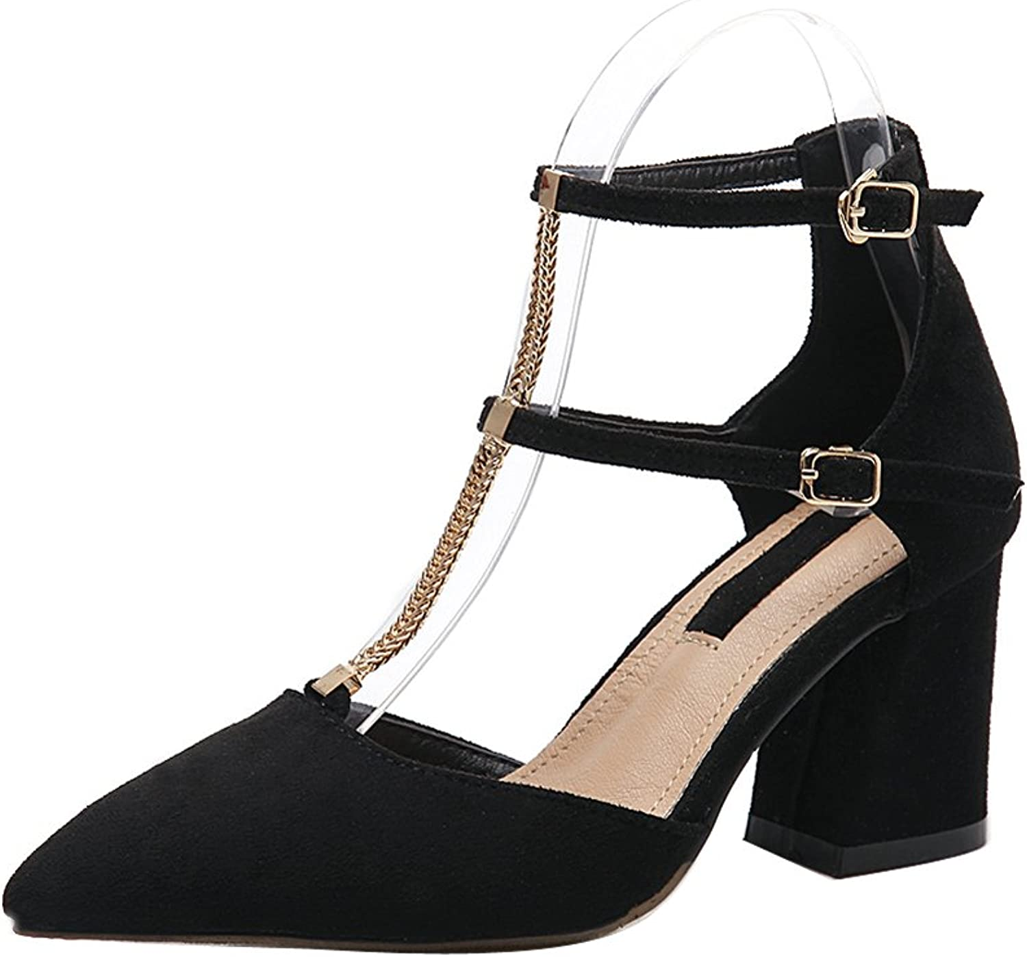 1TO9 Womens Adjustable-Strap Suede Pointed-Toe Black Suede Pumps shoes - 5 B(M) US