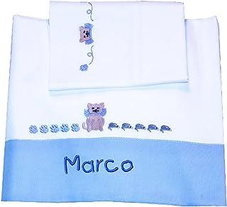 """ZIGOZAGO - Set per culla o lettino """"GATTINO"""" in piquet di cotone in 3 pezzi con nome personalizzato. Federa, lenzuolo e co..."""