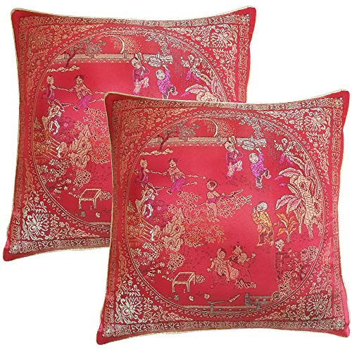Xiaoyztan A Pair of Courtyard Scene Embroidered Pillowcases, Red Oriental Style Silky Decorative Chinese Oriental Manmade Silk Cushion Cover Sofa Throw Pillow Case