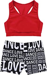 MSemis Girls' Kids 2-Piece Active Set Dance Sport Outfits Racer Back Top and Booty Short Gymnastics Dancing Clothes