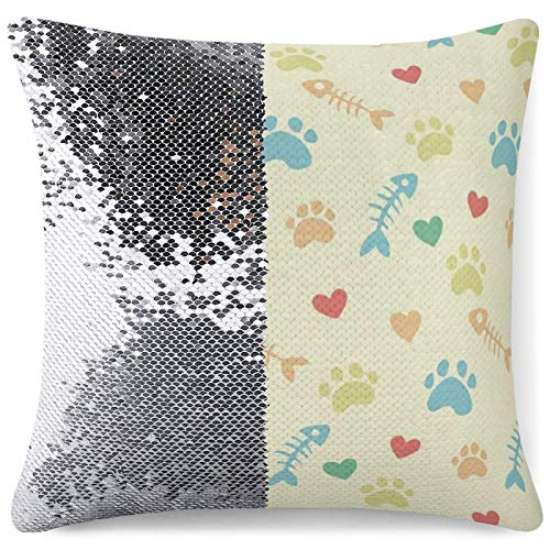 Magic Throw Pillow Cover Flip Sequin Cushion Covers Cats Paw Prints Sofa Bed Office Decor Gag Gifts Sparkling Pillowcase (16 in x 16 in) 40 cm x 40 cm
