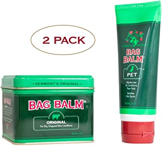 Bag Balm Vermont's Original Animal Bundle Pack, Animal 8 Ounce Tin & 2 Ounce Tube for Cracked Paws, Dry Noses, Hot Spots