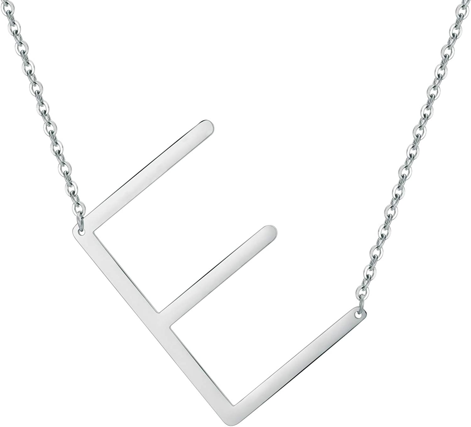 Regular dealer IEFWELL Large Sideways Initial Necklace - Silver Gold Women for Ranking integrated 1st place