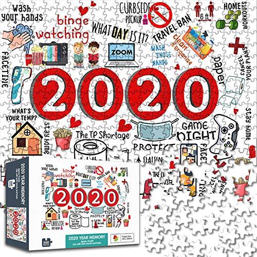 Puzle de 500 piezas, piezas de rompecabezas de Navidad en forma única, juguetes para adultos y niños, juguetes para conmemorar este año extraño, 27,5 x 19,7 pulgadas