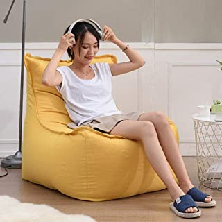 Bean Bag Chair Lazy Sofa High Back,Detachable Single Bedroom Living Room Floor Chairs Creative Balcony Recliner,Yellow Eps