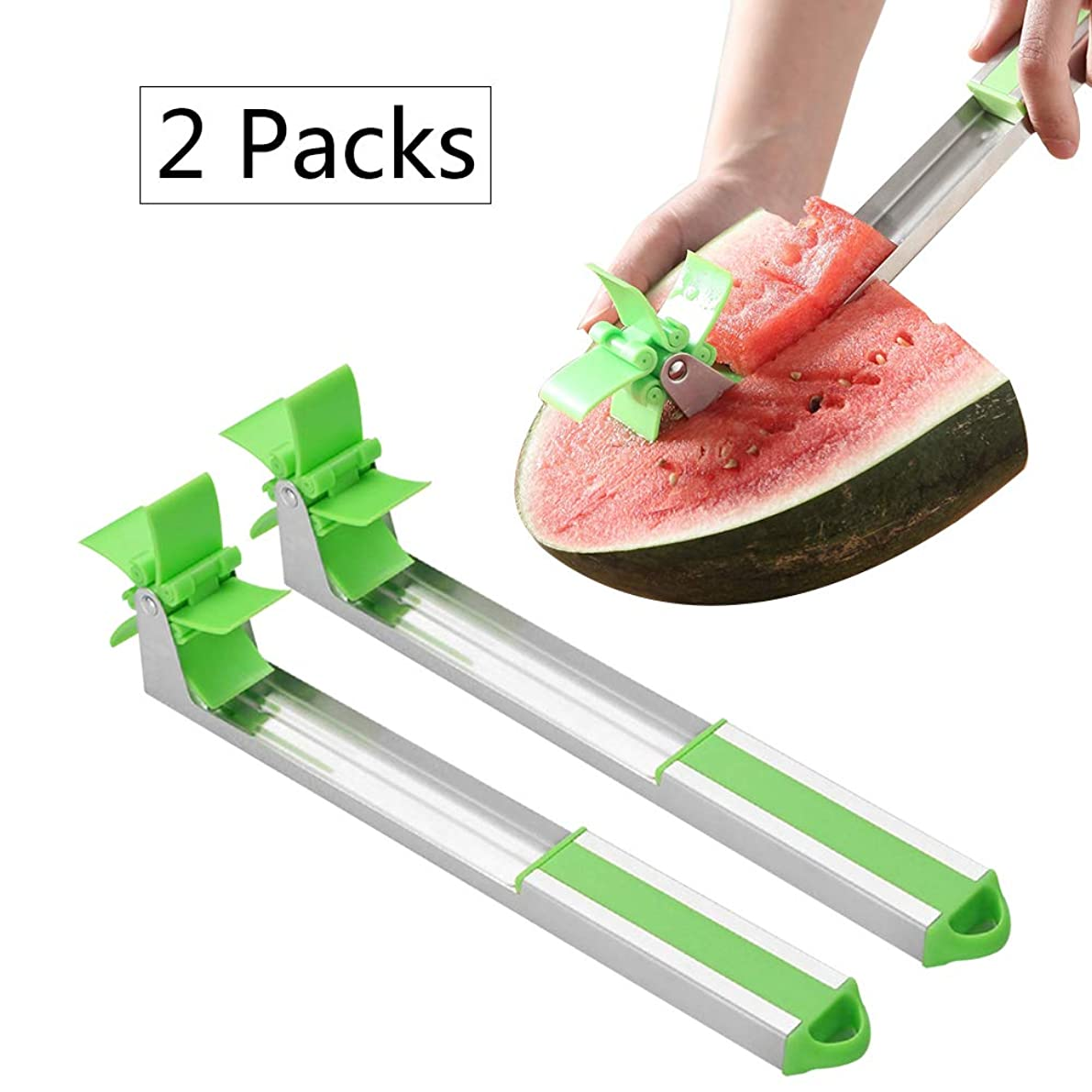 Deloky 2 Packs Watermelon Slicer Cutter-Windmill Watermelon Cutter Tongs, Stainless Steel Fruit MelonKitchen Gadget for Melon Cutter And Cantaloupe Scooper Fruit Service Tool