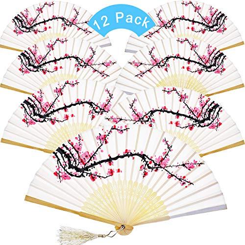 Chuangdi 12 Piezas de Mano Abanicos de Seda de bambú abanicos Flor...