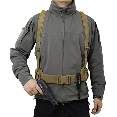 57af5163071 OneTigris Waist Belt with X-shaped Suspenders Airsoft Combat Duty Belt with  Comfortable Pads and