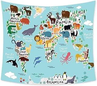 Luoiaax Kids Hippie Tapestry Wall Hanging Educational World Map Africa Camel America Lama Alligator Ocean Australia Koala Print Wall Tapestry Bohemian Decor W70.5 x L59 Inch