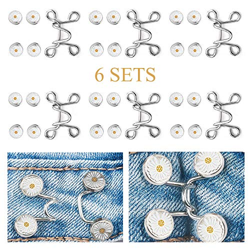 ZOCONE 6 Sets Adjustable Waist Buckle Extender Set Replacement Jeans Button Perfect Fit Metal Instant Button for Jeans Pants Skirt (Silver)