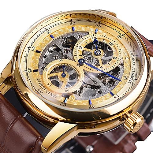 Excellent Reloj Masculino Reloj mecánico automático para Hombres Negocio Reloj de Pulsera Casual con Correa de Cuero Dial Redondo 3ATM 30 Metros Resistente al Agua, Regalo para él,A01