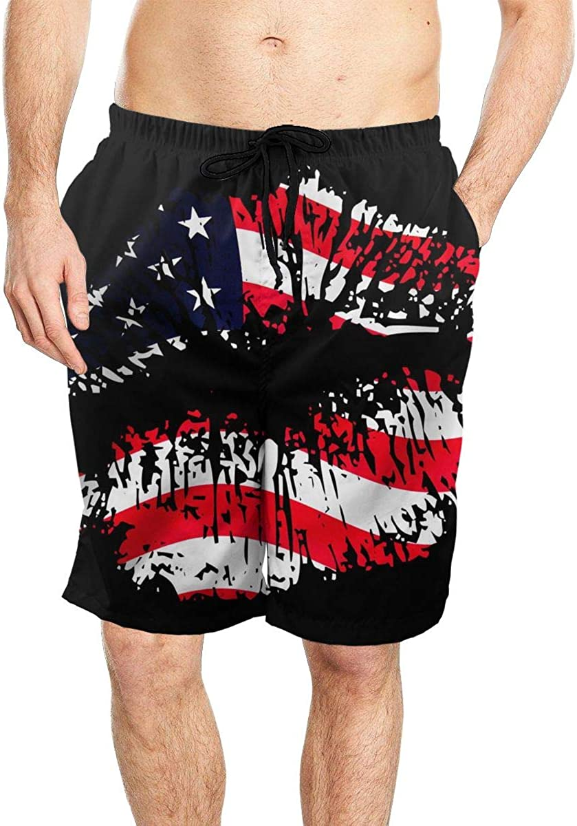 DASMUS Lips with Flag Overlay Men Quick Dry Beach Board Shorts Swim Trunks with Mesh Lining