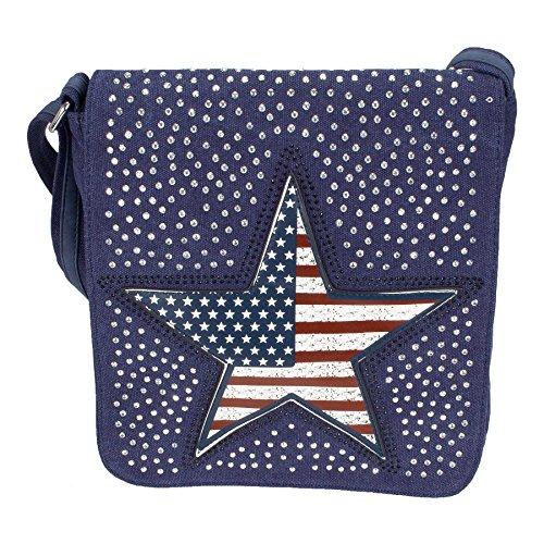 ROZENROOD US STAR - schoudertas gemaakt van canvas met strass ster en vlag, jeans stof lederlook - 30x28x7