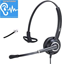 Corded RJ9 Phone Headset with Noise Cancelling Microphone Compatible with Panasonic Grandstream Sangoma Snom Yealink etc IP Phones