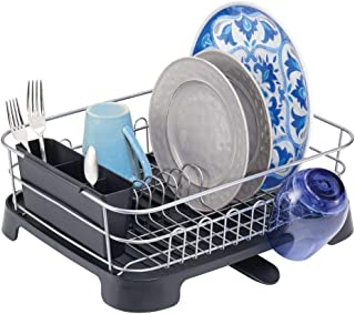 mDesign Large Kitchen Countertop, Sink Dish Drying Rack with Removable Cutlery Tray and..