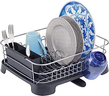 mDesign support à vaisselle en métal et plastique – panier égouttoir avec bec verseur pivotant – egouttoir design pour un plan de travail sec – argenté/noir