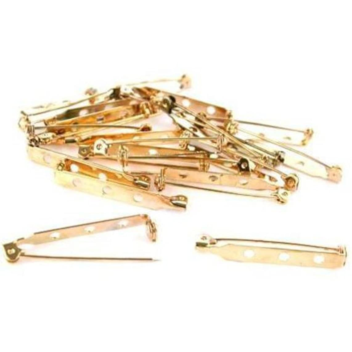 20 Bar Pin Backs Broach Hat Badge Jewelry Safety Parts
