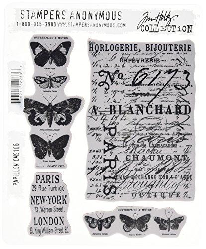 Tim Holtz Stampers Anonymous CMS106 - Colección de estampas autoadhesivas, diseño de mariposas