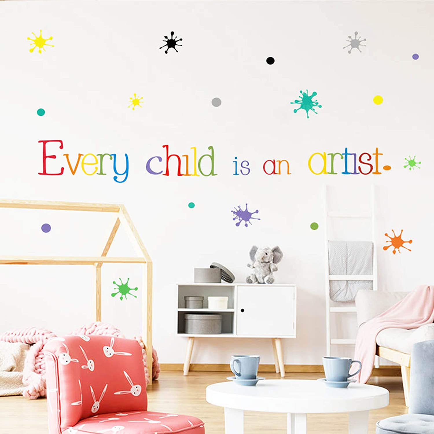 Wall Sticker Decor Decorative-Every Child is an Artist Inspirational Quotes-Watercolor Paint Splash with Dots--Decorations for Living Room Bedroom Playroom Nursery Baby Art Girls Boys Room Decals