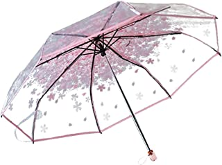 Honeystore Clear Bubble Transparent 3 Folding Cherry Blossom Rain Wind Umbrella Pink