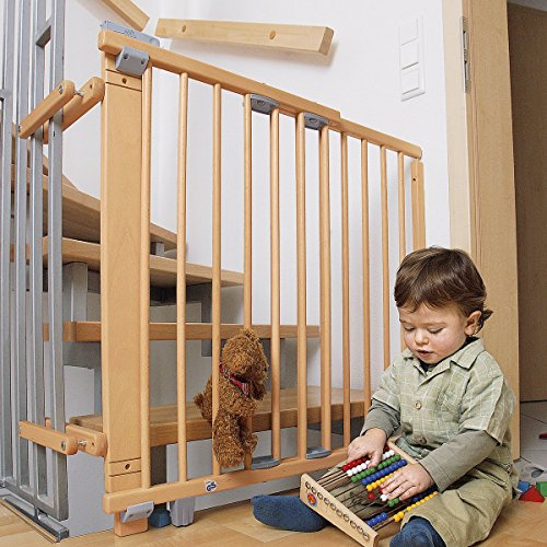Geuther, Schwenk Treppenschutzgitter 2733NA für Kinder Hunde und Katzen Befestigung mit SchraubenKlemmen am Geländer verstellbar Holz, natur, 67 - 07 cm