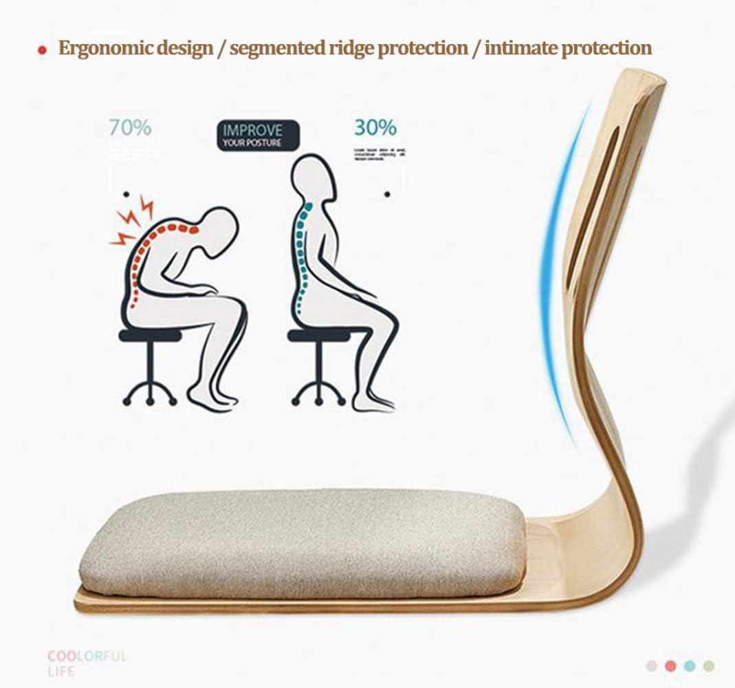 YTDHBLK Wood Tatami Chaise de Sol Canapé Paresseux Jeu Méditation Assise avec Support pour Le Dos Chaise sans Pieds N