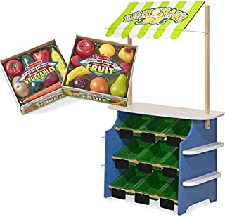 Melissa & Doug Bundle Includes 2 Items Wooden Grocery Store and Lemonade Stand - Reversible Awning, 9 Bins, Chalkboards Play-Time Produce Fruit (9 pcs) and Vegetables (7 pcs)