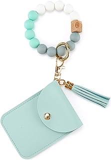 ECOSUSI Keychain Bracelet Silicone Keychain Wallet Bead Key Ring with Card Holder