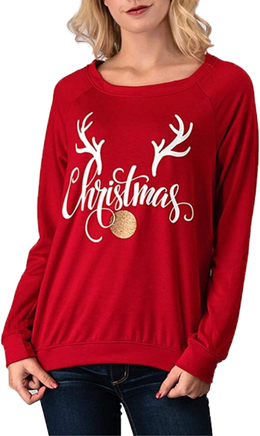 blueetime Women's Ugly Funny Christmas Holidy Elk Print Long Sleeve TShirt Tops Blouse