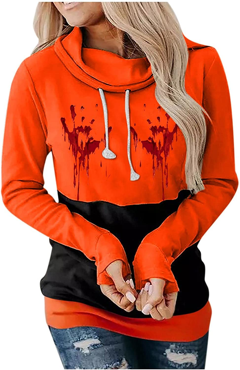 Women Halloween Hoodies Funny OFFicial Face Long Color Genuine Block Print Sleeve