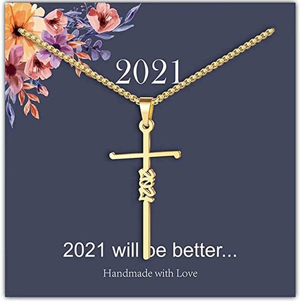 xinjue Faith Cross Necklace Gold Plated Brass Blessed Hope Love Forever Letter Pendant Necklaces Religious Easter Jewelry Gifts for Women(16 inches)…