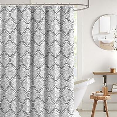 Juno Grey White Fabric Shower Curtain: Flower Print in Moroccan Damask Design, 70  x 72  inch