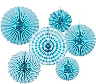 MOWO Blue Paper Fans Hanging Decoration (Aqua Blue,White, 6pc)