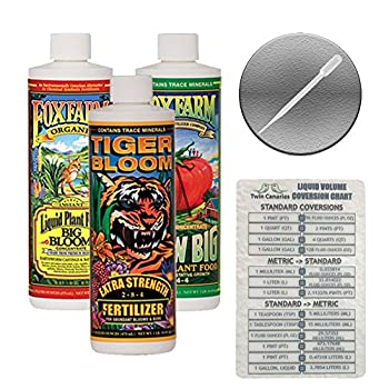Fox Farm Liquid Nutrient Trio Soil Formula  Big Bloom Grow Big Tiger Bloom  Pack of 3-16 oz Bottles  1 Pint Each + Twin Canaries Chart & Pipette